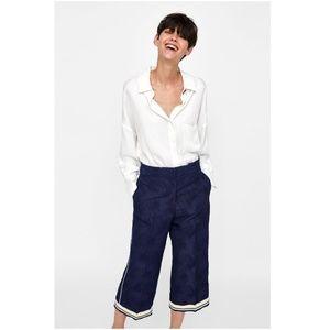 NWT Zara Contrasting Jacquard High Waist Pants